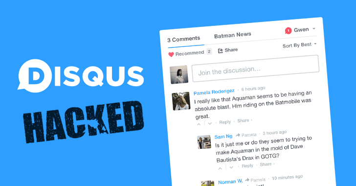 Disqus comment system hacked