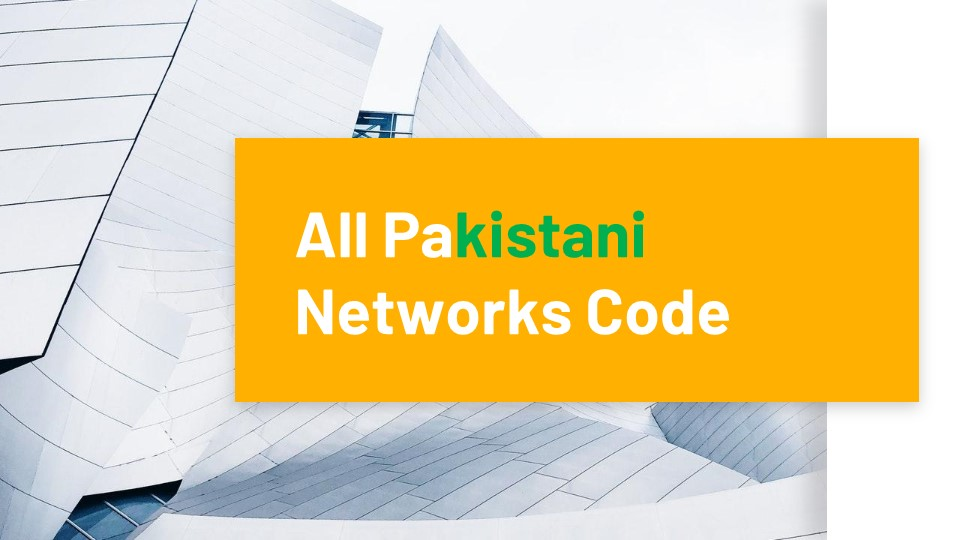 All Pakistani Networks Code
