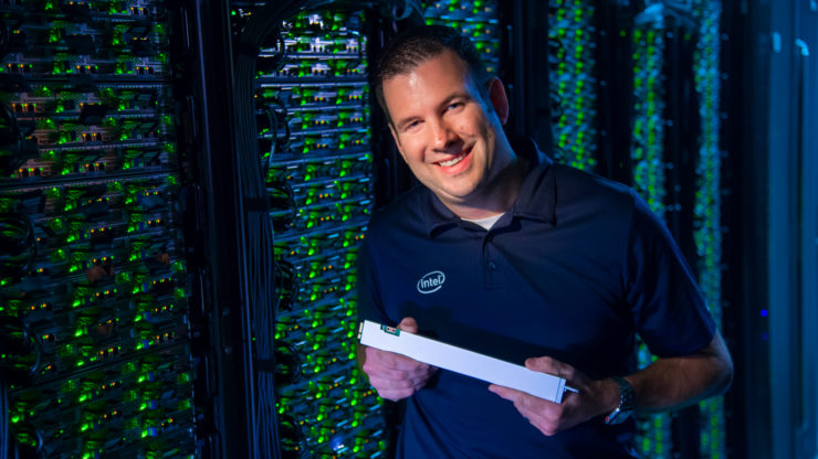 Wayne Allen leads data center storage pathfinding at Intel Corporation. Allen and his team brought the ruler, or EDSFF, solid-state drive to life, delivering massive improvements in density, cooling, and space and power efficiency. (Credit: Walden Kirsch/Intel Corporation)