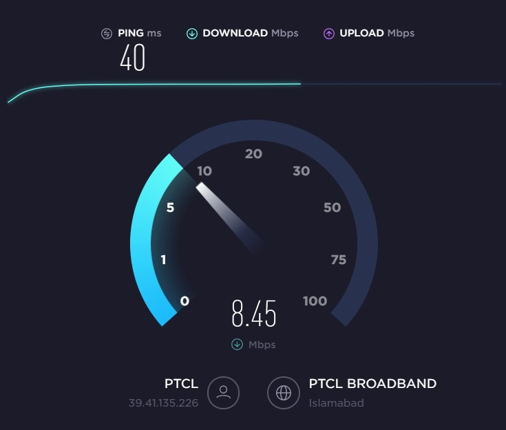 PTCL Speed Test by Ookla