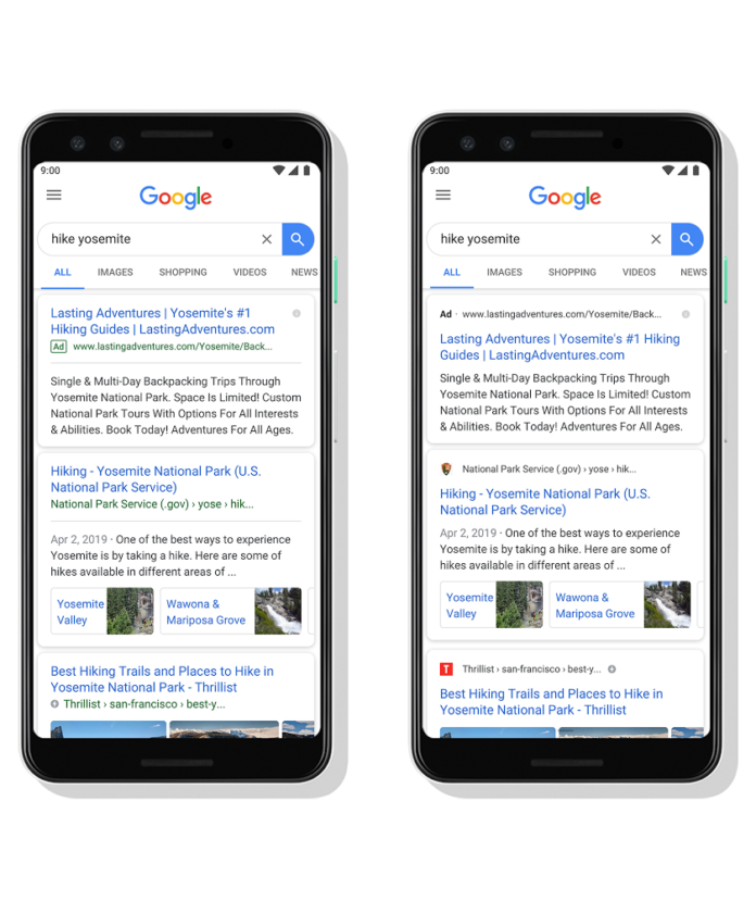 Google new search layout