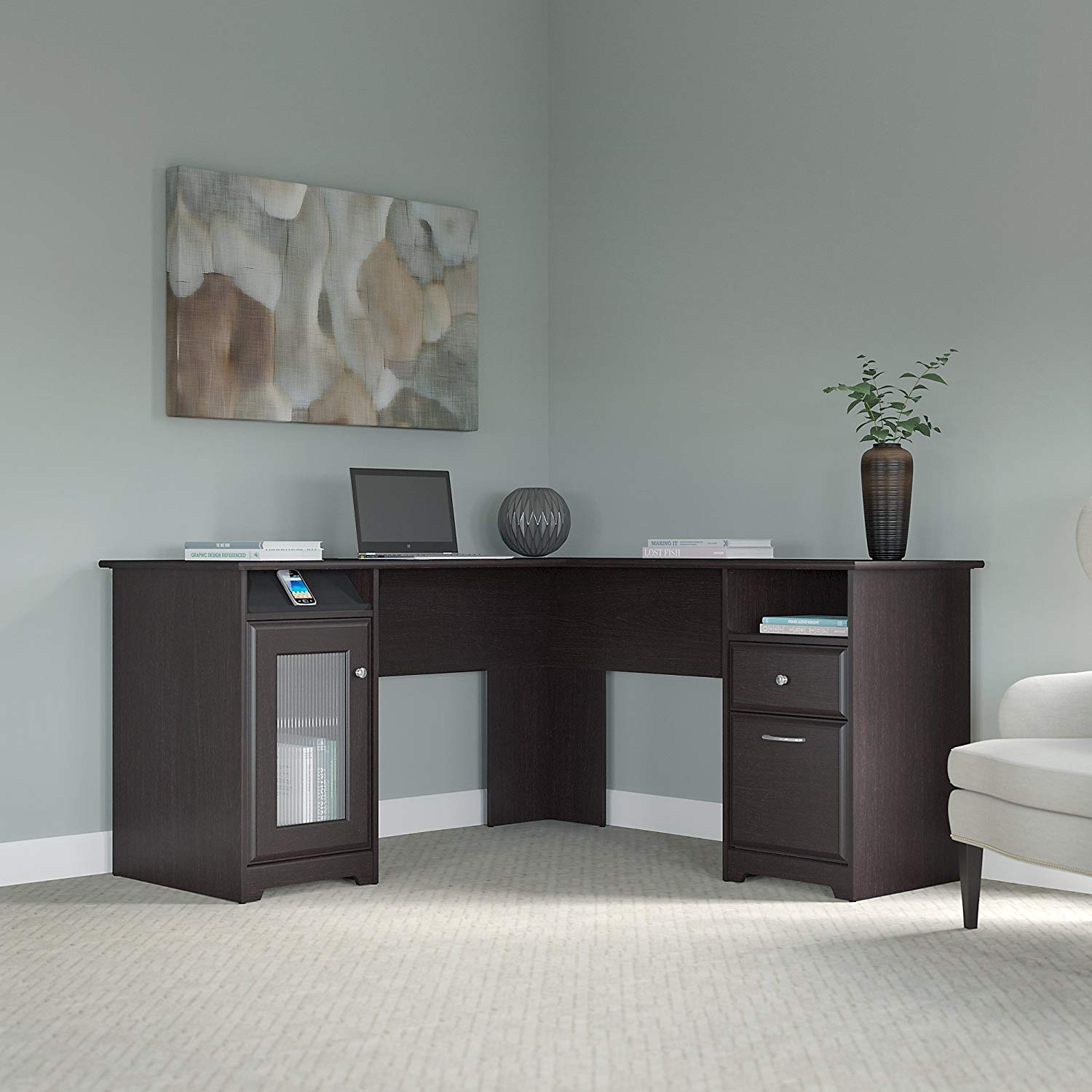 Bush Furniture Cabot L Shaped Computer Desk in Espresso