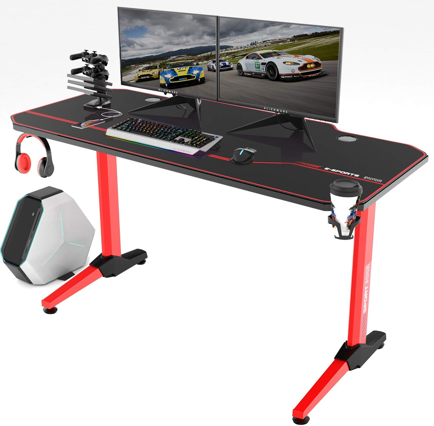 Vitesse 55 inch Gaming Desk T Shaped Computer Desk