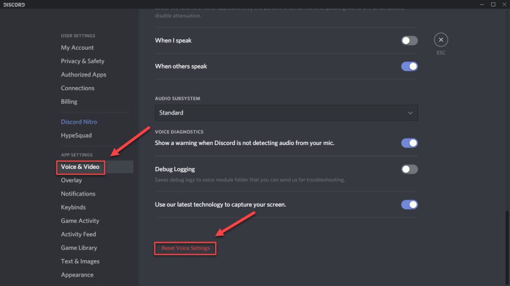 Reset Voice Record Settings discord