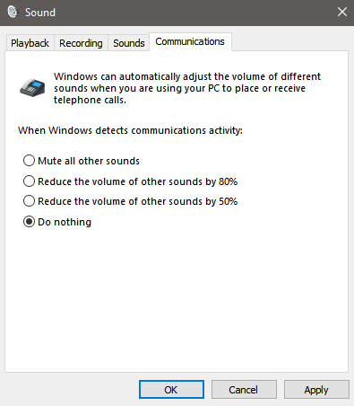 communications tab - How to Have Discord and Game Sound Separately